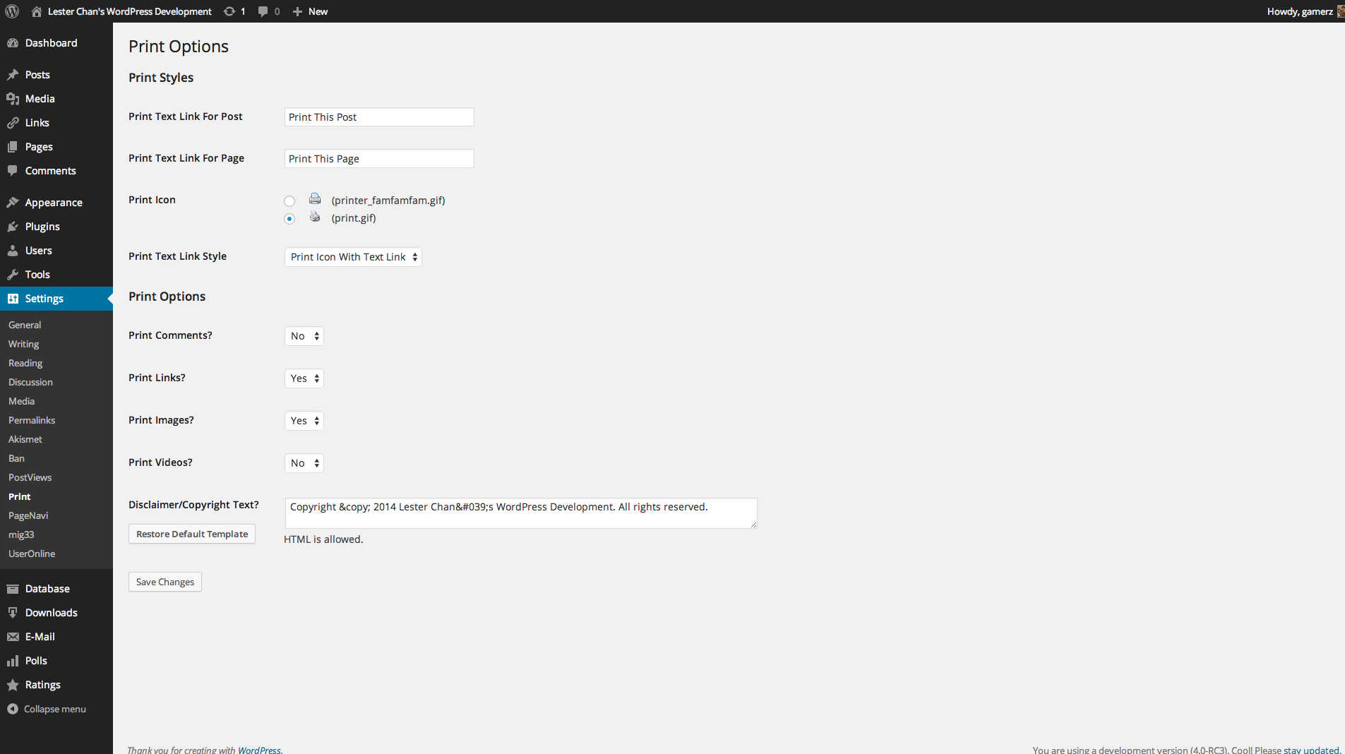 WP-Print's Screenshot: Admin Print Options