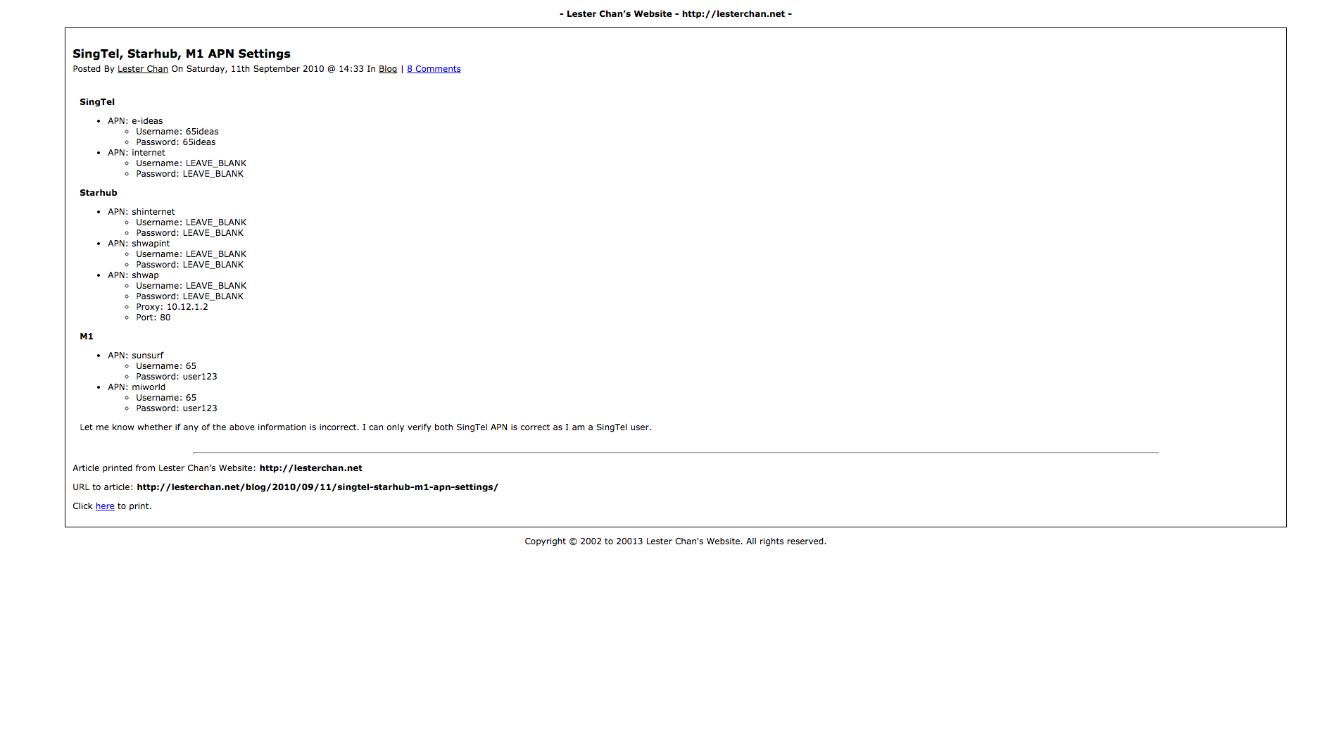 WP-Print's Screenshot: Print Page