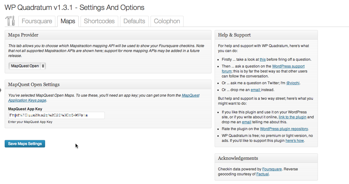Settings and Options: Maps Tab; MapQuest Open Maps configuration
