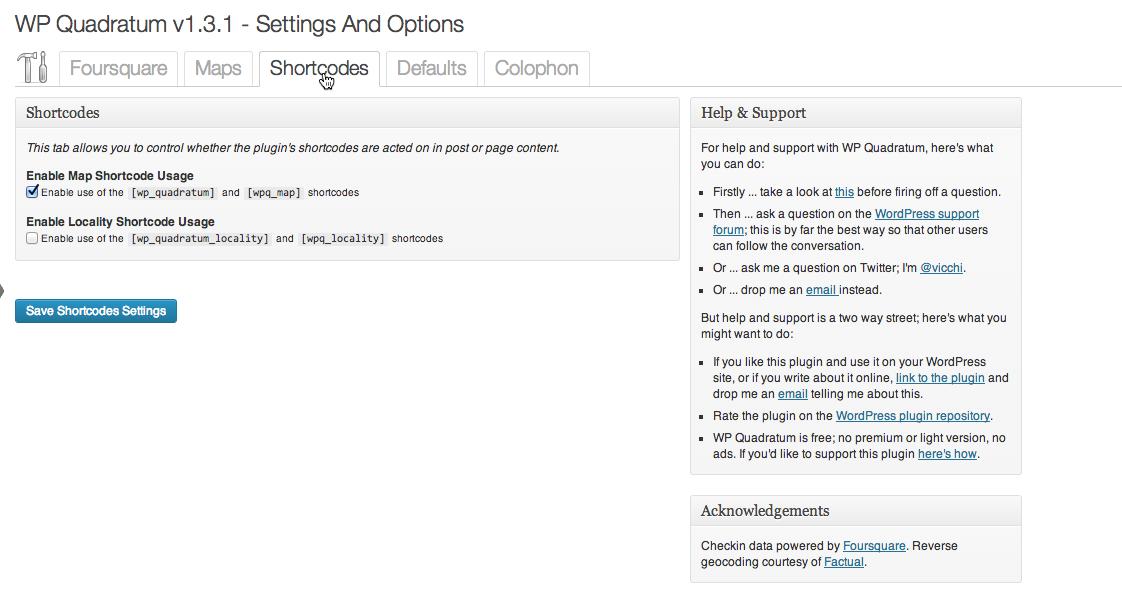 Settings and Options: Shortcode Tab; [wp_quadratum] shortcode enabled