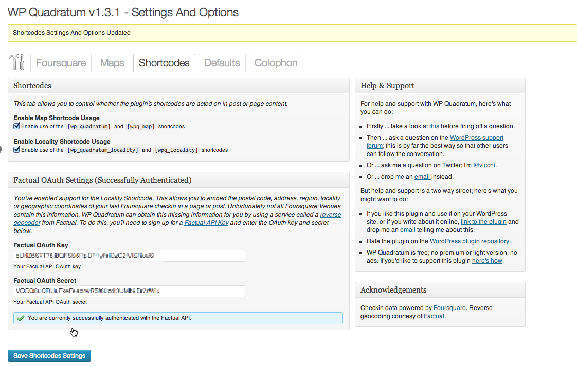 Settings and Options: Shortcode Tab; [wp_quadratum_locality] shortcode enabled, Factual OAuth Key and Secret saved
