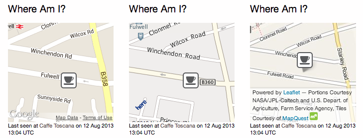 Sample Widget: Google v3, HERE and Leaflet maps