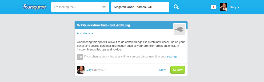 Foursquare Authentication: Allow or deny plugin access to your Foursquare account