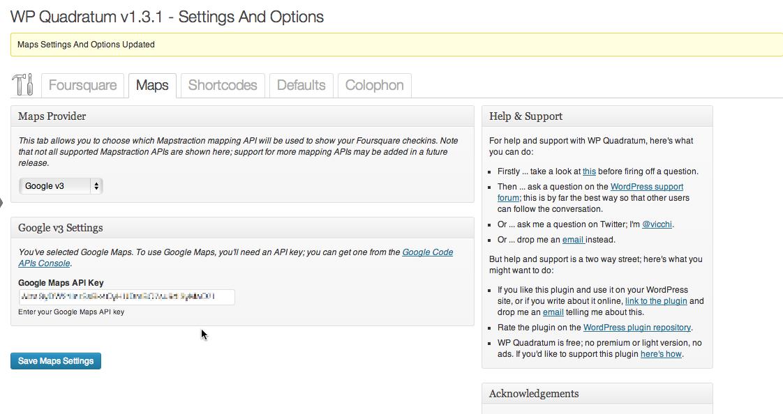 Settings and Options: Maps Tab; Google Maps v3 configuration