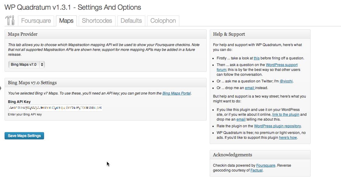 Settings and Options: Maps Tab; Bing Maps v7 configuration