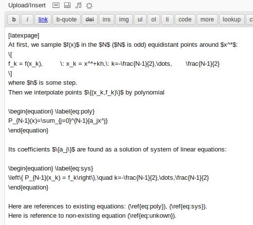 LaTeX - enabled post in WordPress editor.
