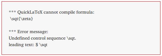 Debug Mode - Error message triggered by misspelled <code>\sqrt</code> command.
