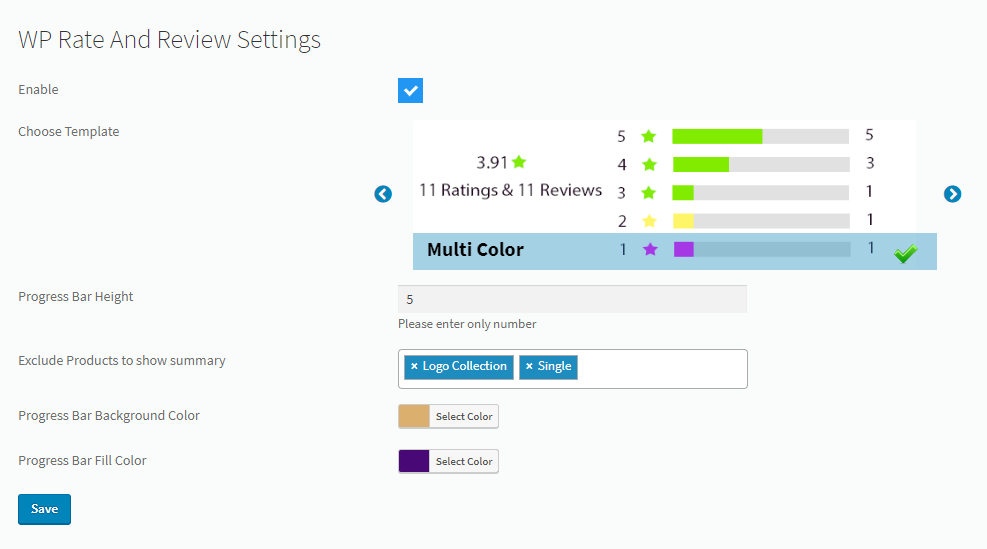 WP Rate And Review Progress Bar on Products details page