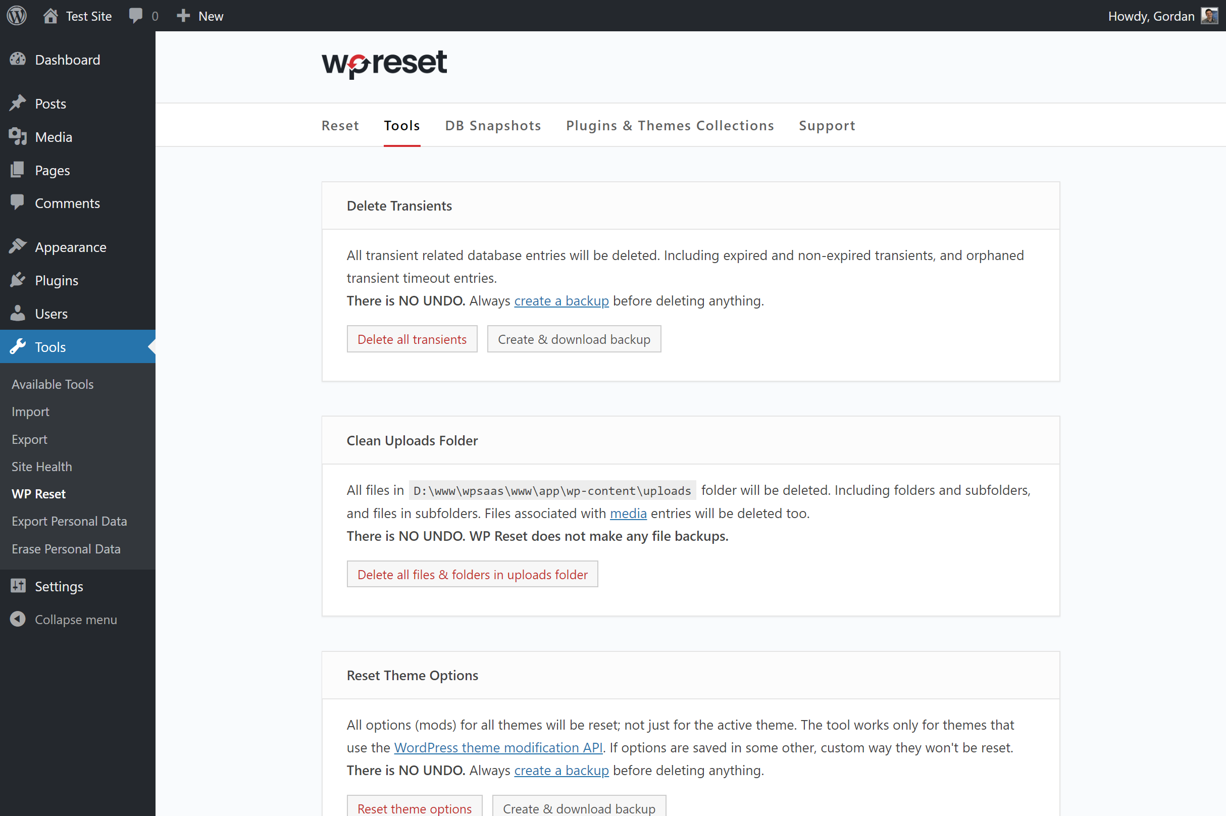 Additional tools for resetting and deleting various WordPress objects