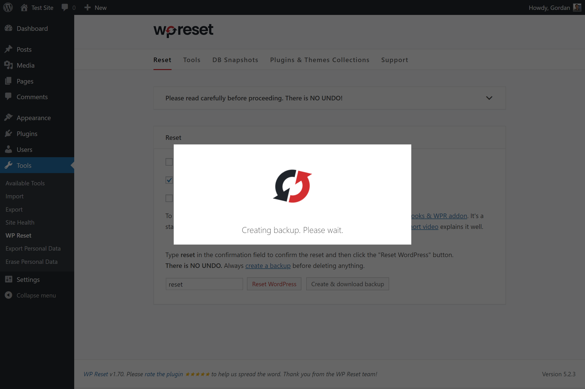 Use our 1-click backup feature before running any reset tools