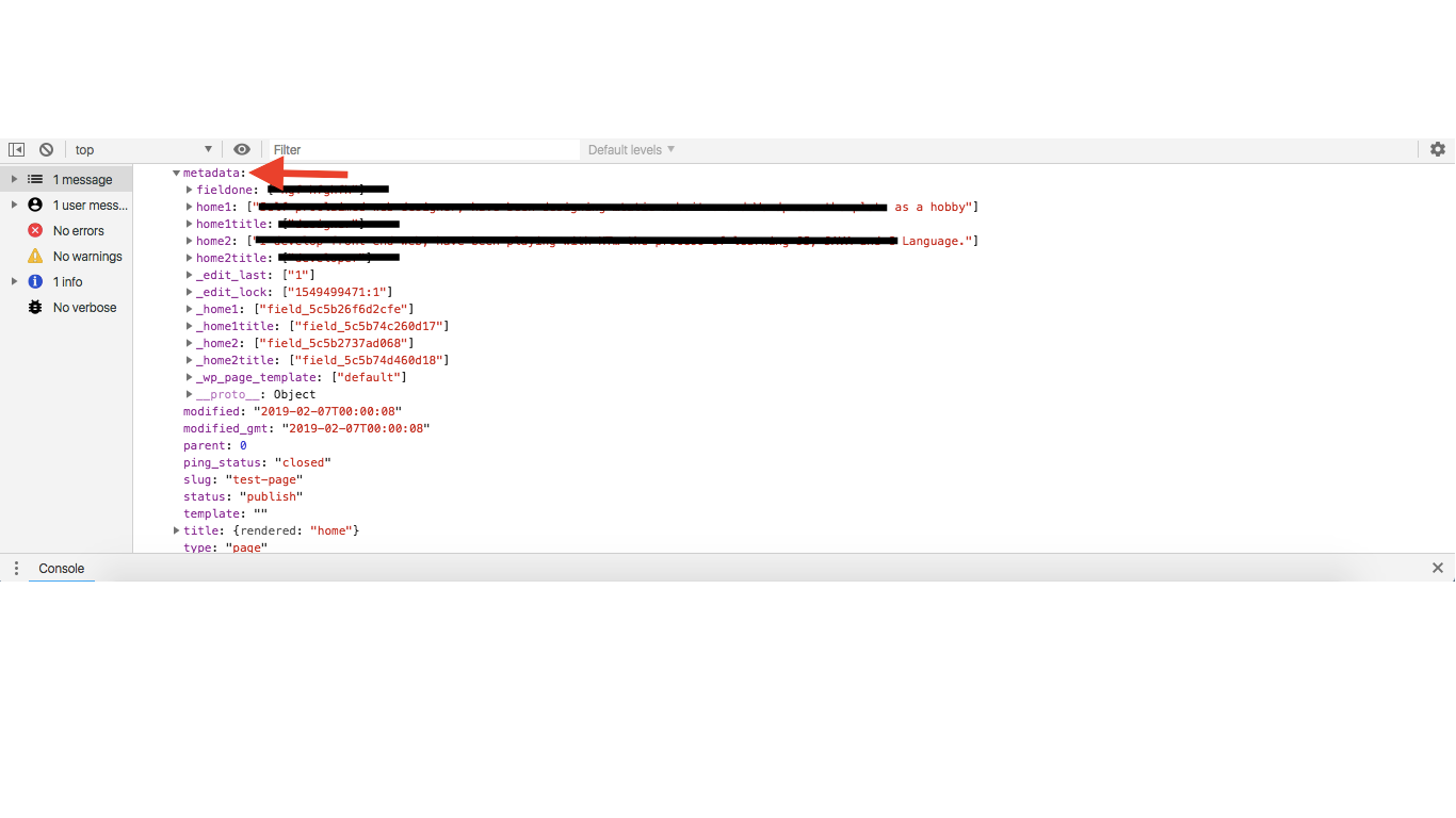 fields are displayed in the JSON response as metadata.