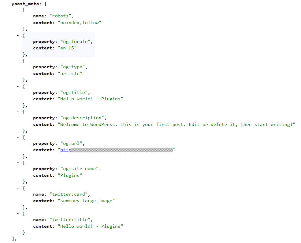 The WP REST API output for the Hello World post example.