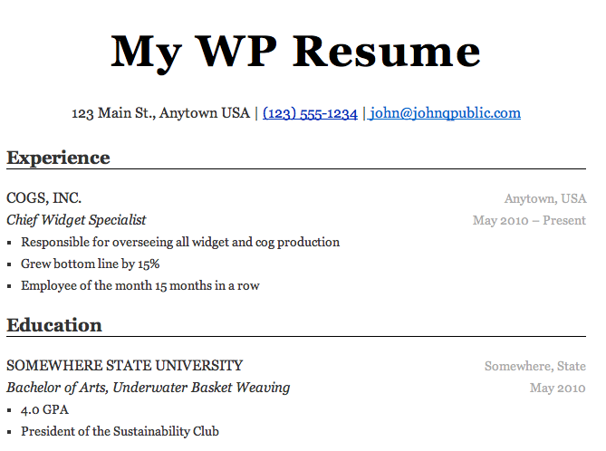 Wp resume wordpress capturas altavistaventures Image collections