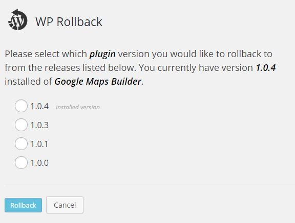 テーマやプラグインのバージョンをクリックだけでロールバック(以前に戻す)できるプラグイン「WP Rollback」の画像|Knowledge Base