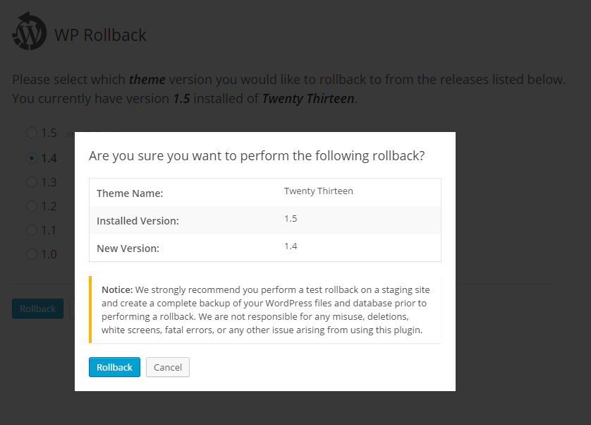 WP Rollback – WordPress plugin | WordPress org
