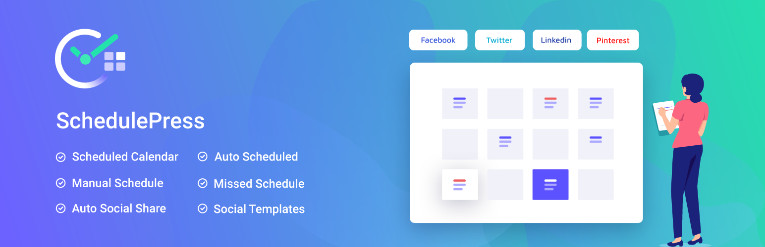 SchedulePress – Best Editorial Calendar, Missed Schedule & Auto Social Share to Facebook, Twitter