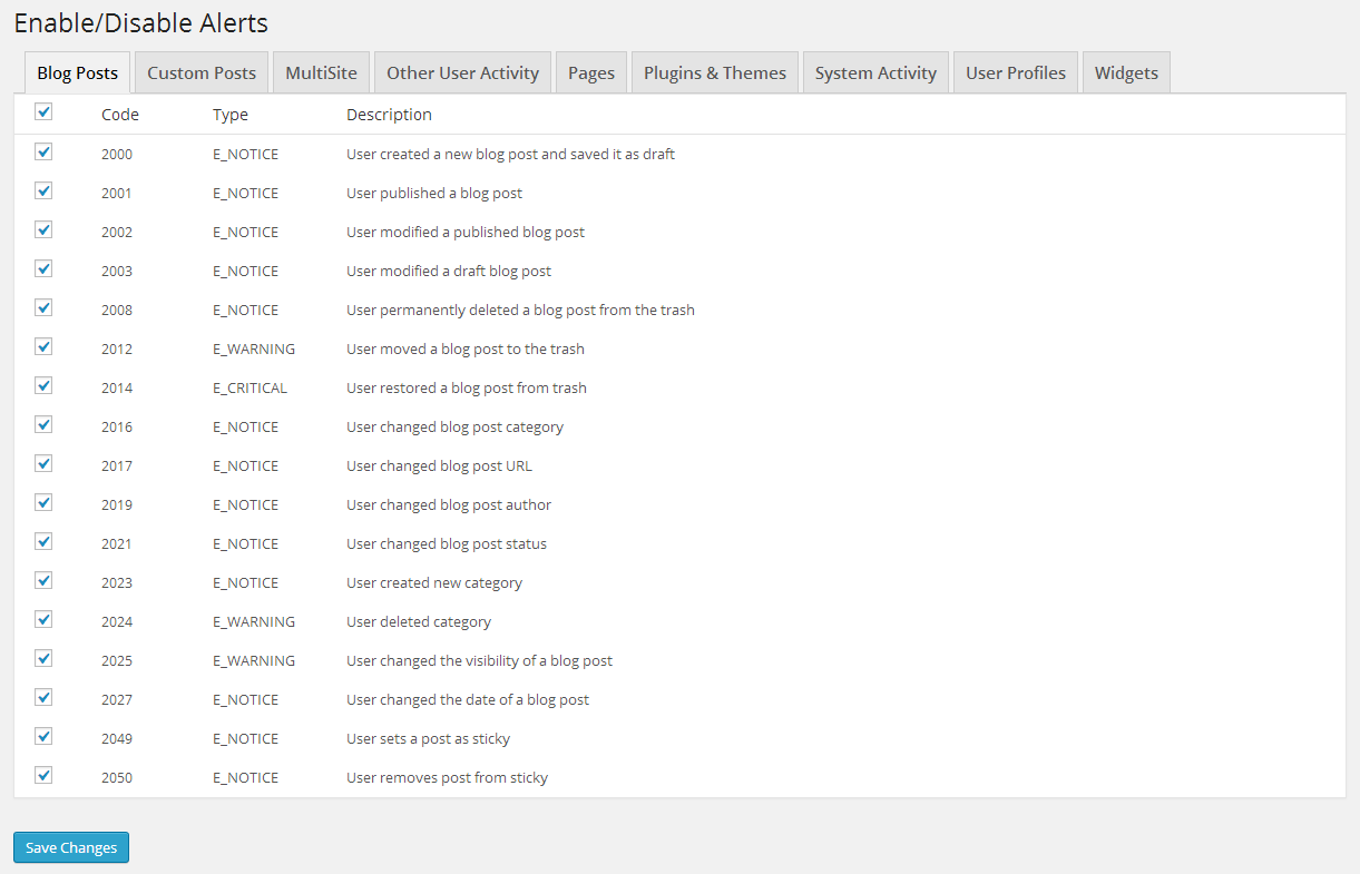 The Enable/Disable events section from where Administrators can disable or enable activity log events.