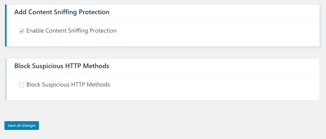 Server security settings continue