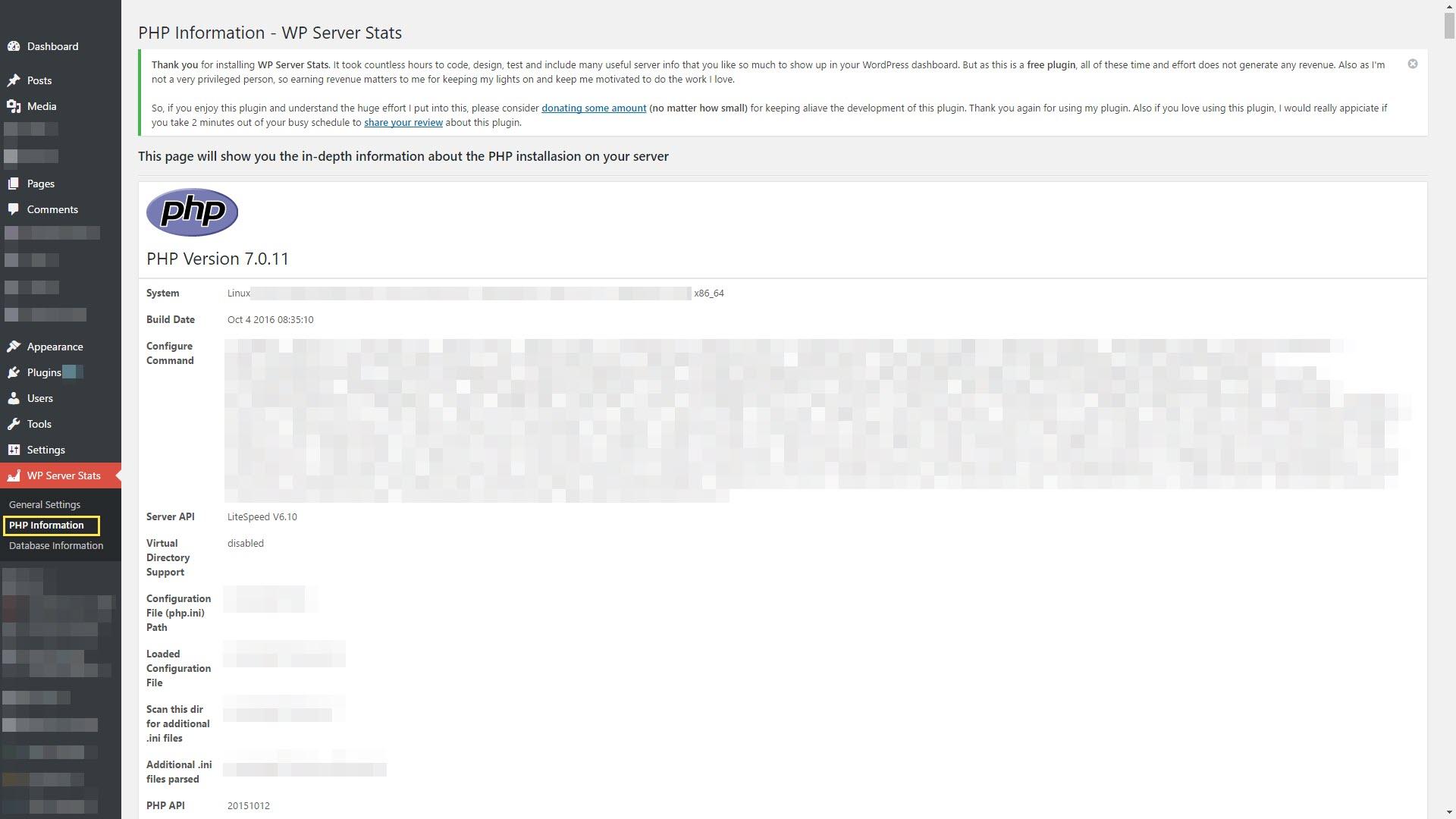 Screenshots WP Server Stats WordPressorg