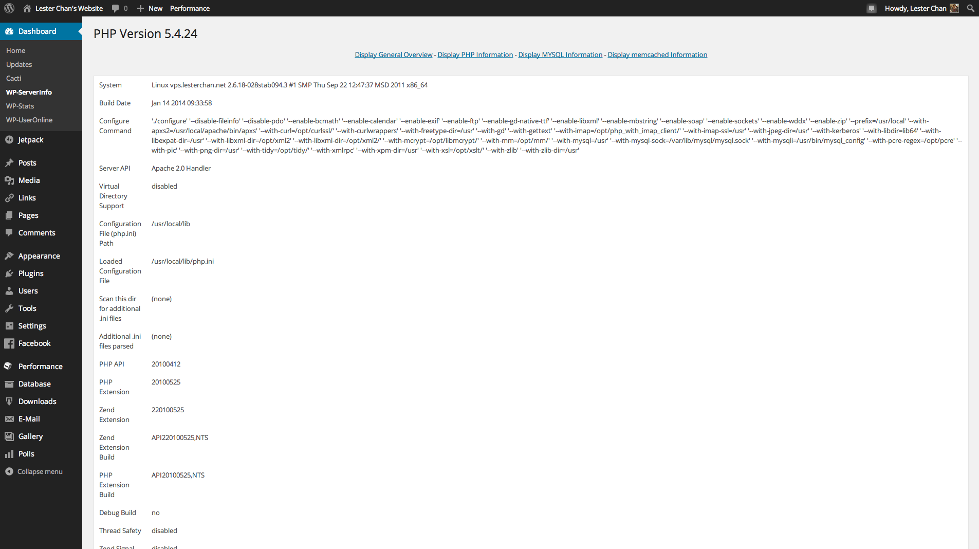 WP-ServerInfo's Screenshot: PHP Info