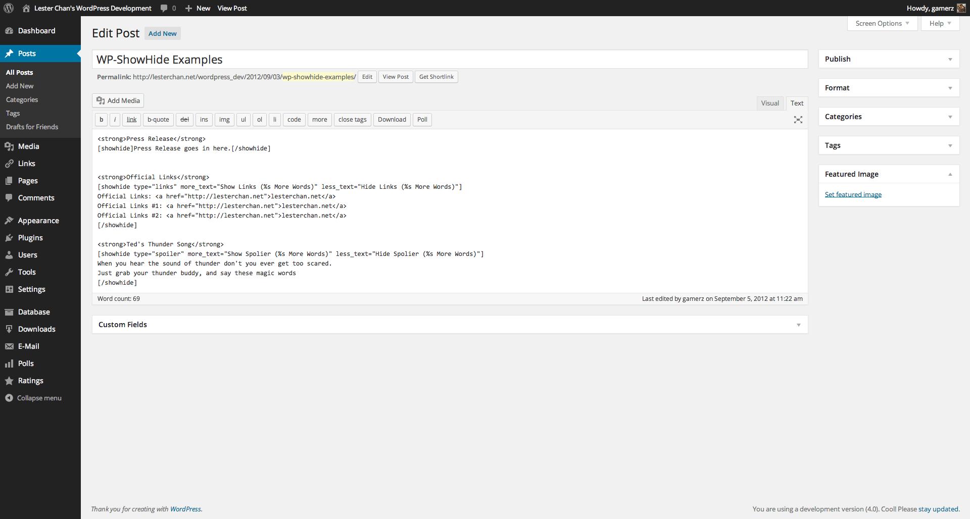 WP-ShowHide's Screenshot: Editor - Short Code