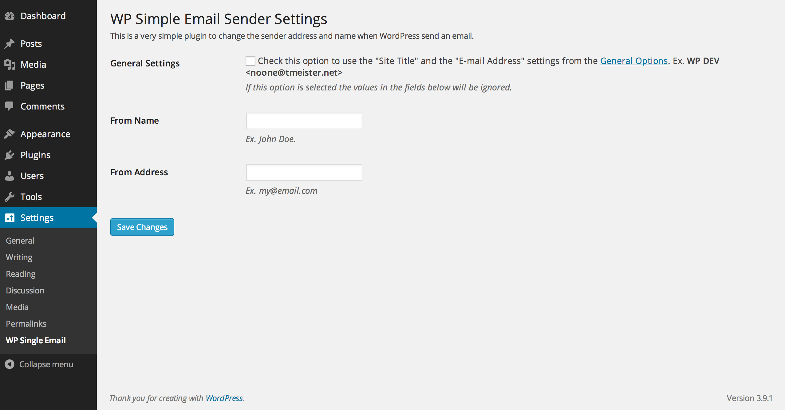 WP Single Email Sender Settings Page