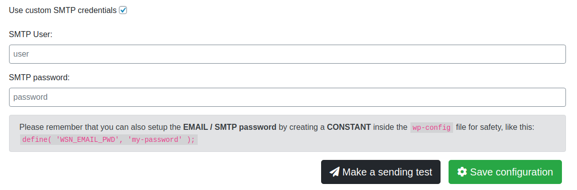 It works also for custom SMTP providers such Amazon SES and comes with a safe password storage method for your sake