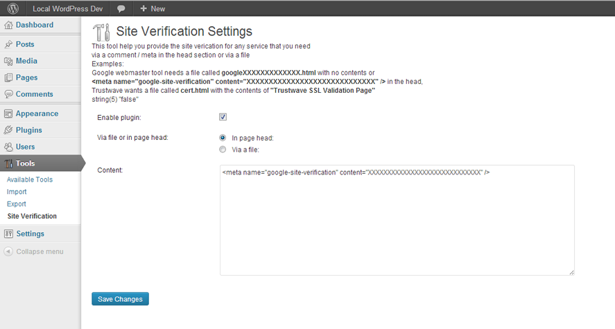 wp-site-verification-tool screenshot 3