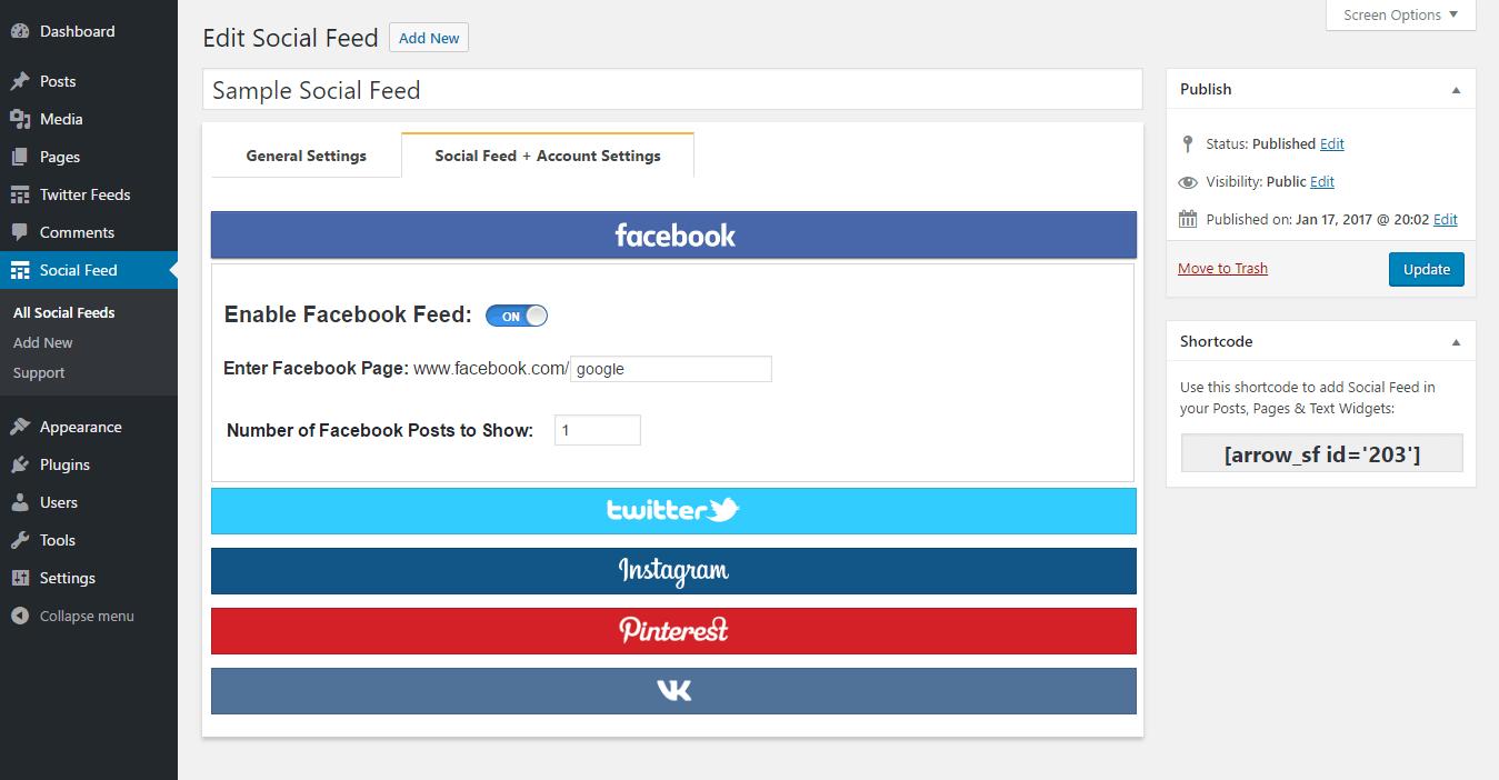 Social Feed | Facebook Feed, Instagram Feed, Twitter Feed, Pinterest