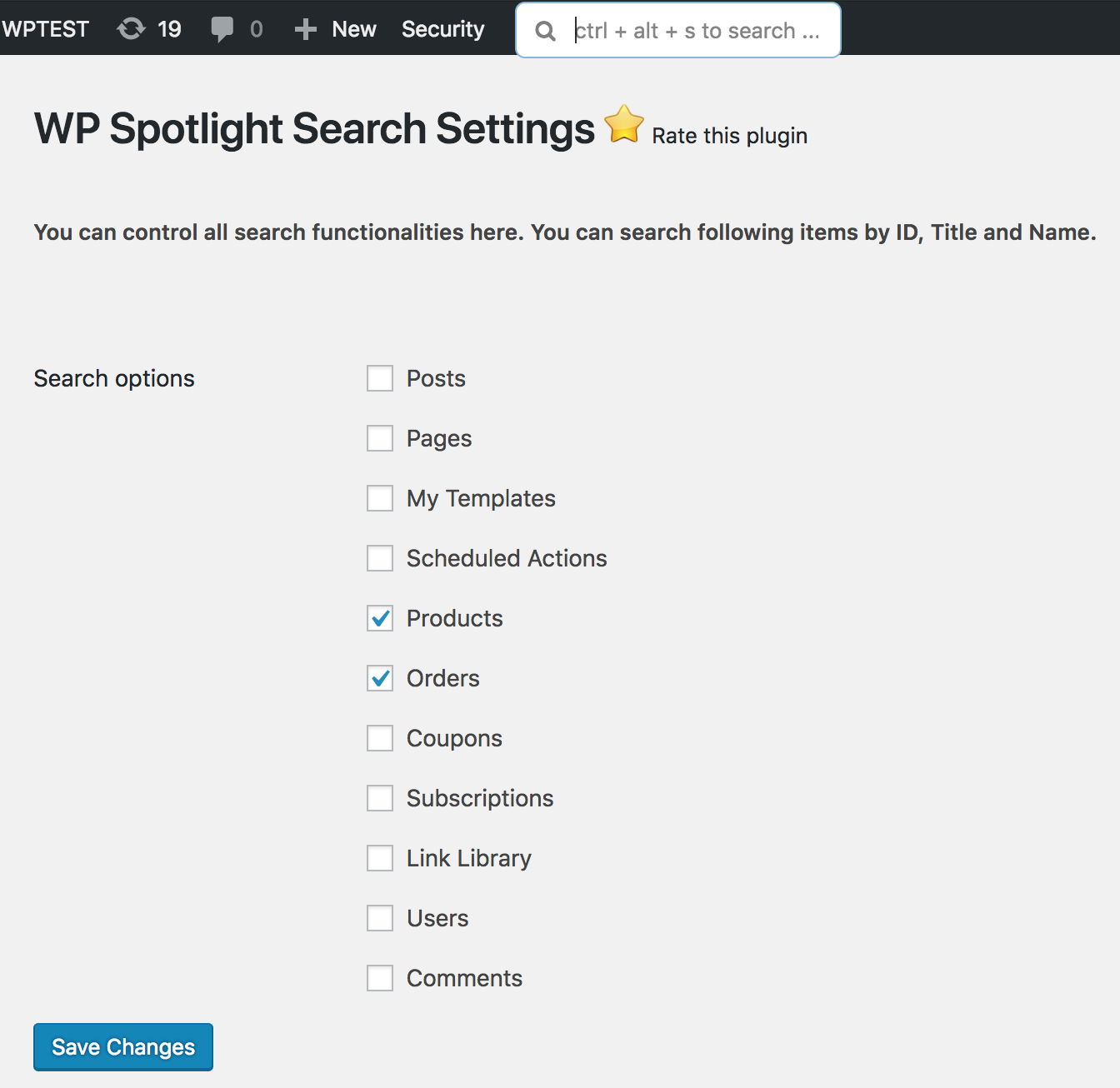 WP Spotlight Search Settings