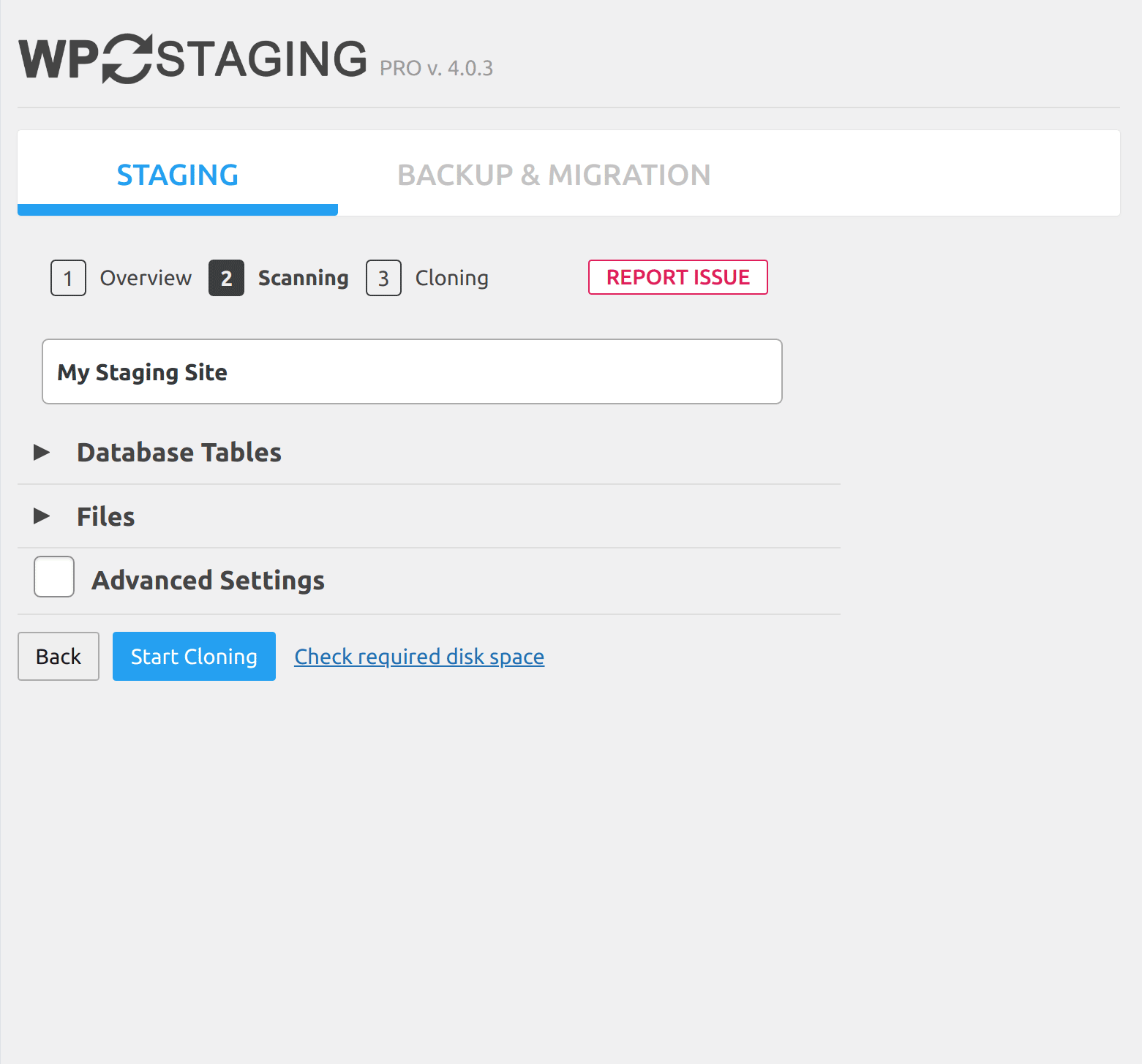 Step 2. Scanning your website for files and database tables