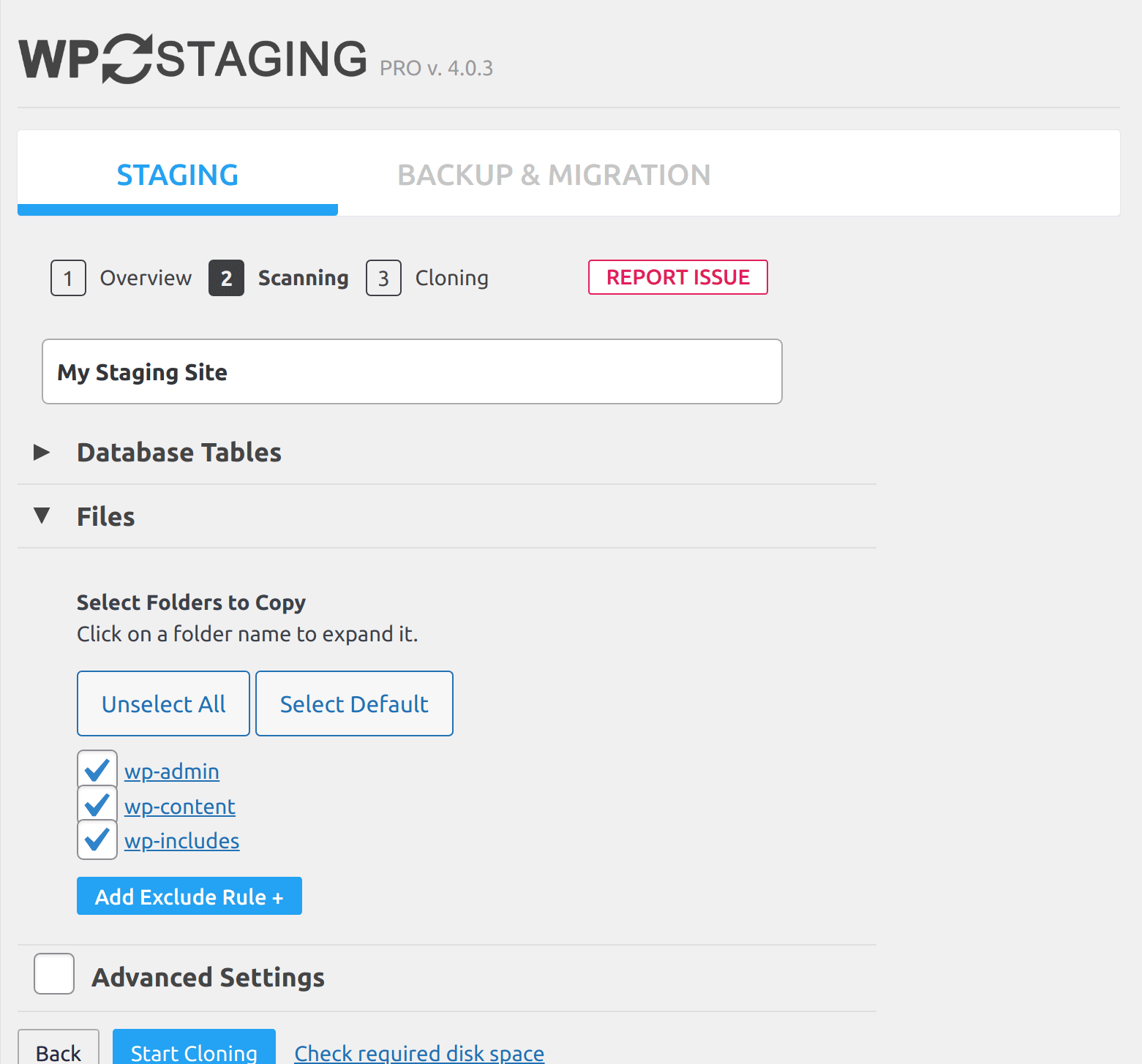 Step 3. WordPress Staging site creation in progress