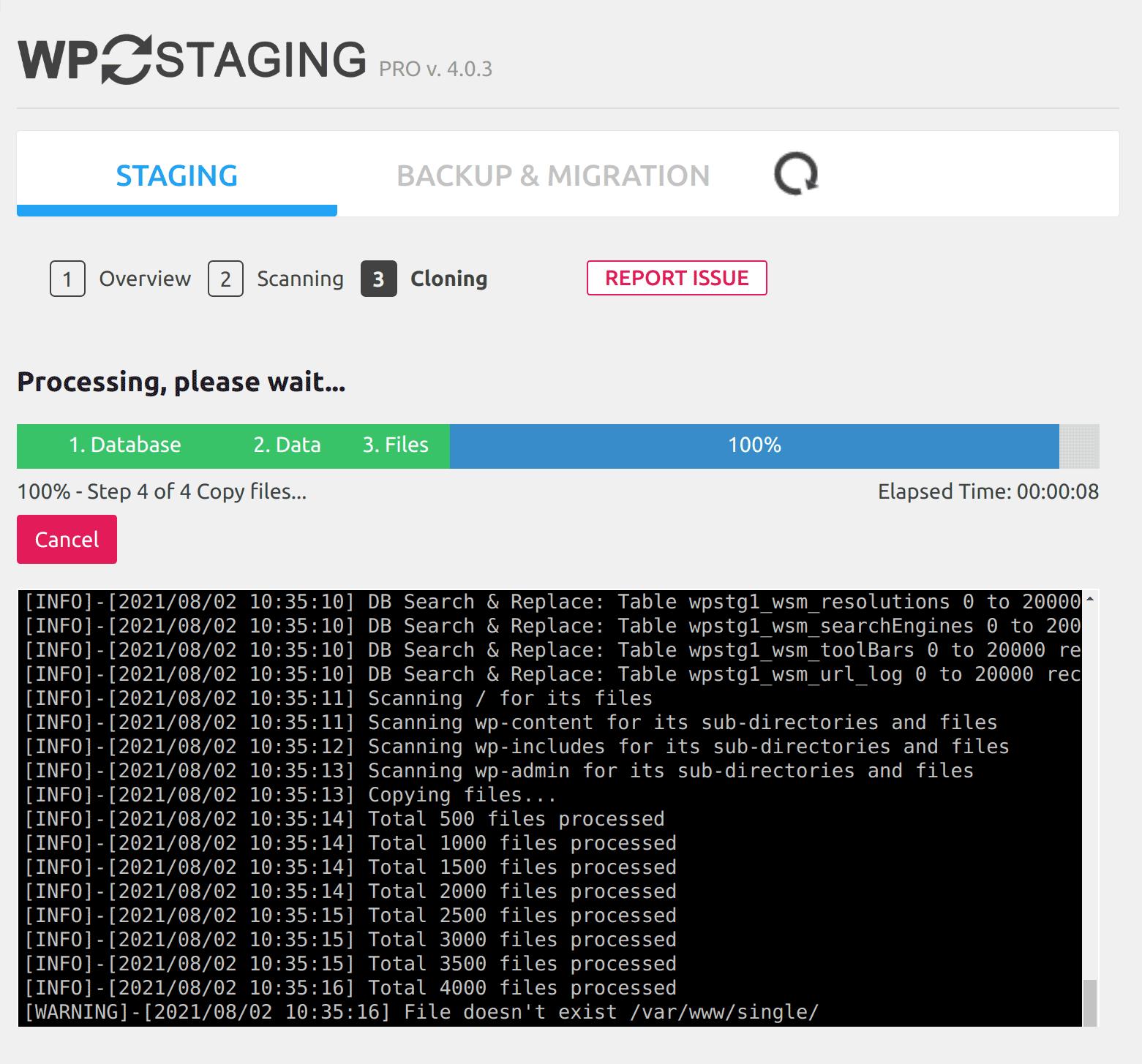 Cloning / backup processing