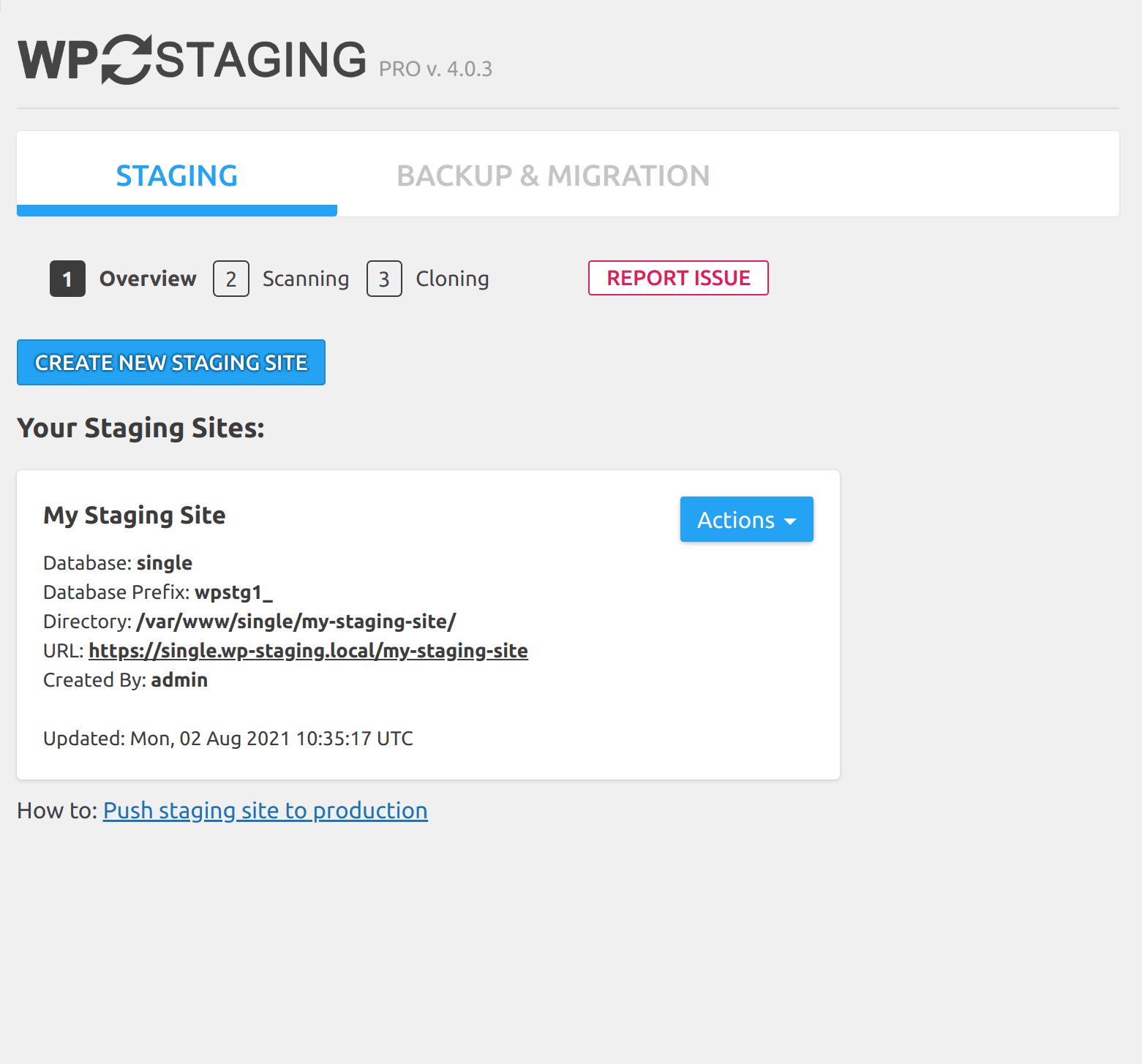 Listed staging / backup sites
