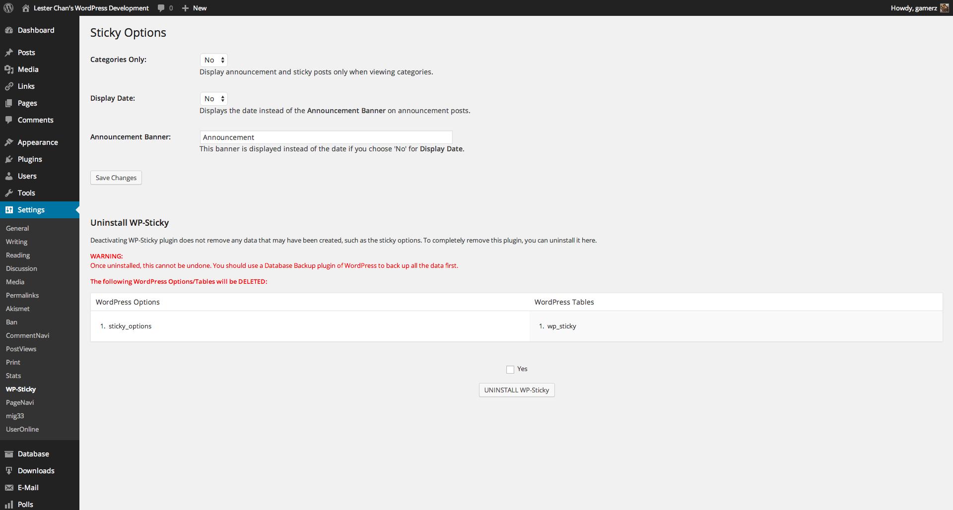 WP-Sticky's Screenshot: Admin - Sticky Options