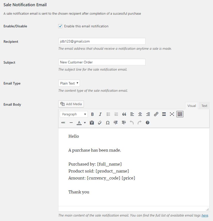 Stripe Plugin Sale Notification Email Settings