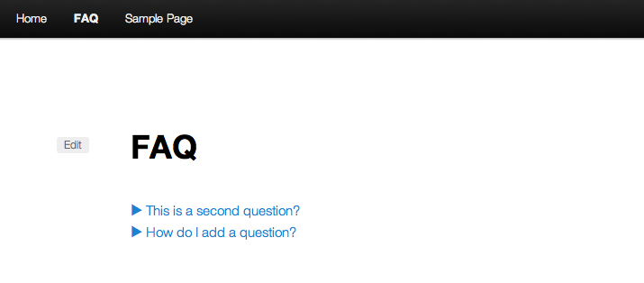A screenshot of the default shortcode with WP Super FAQ.