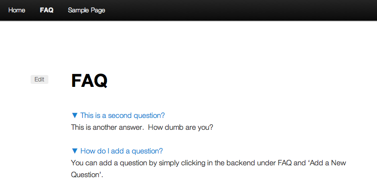 A screenshot with both questions clicked on with the default shortcode.