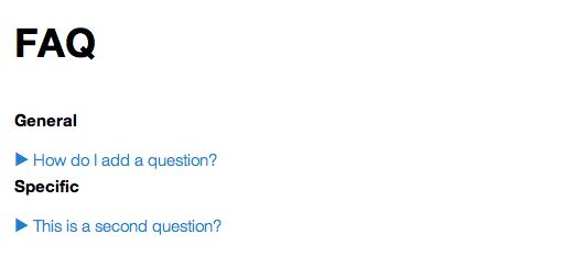 A screenshot showing the FAQ by category.