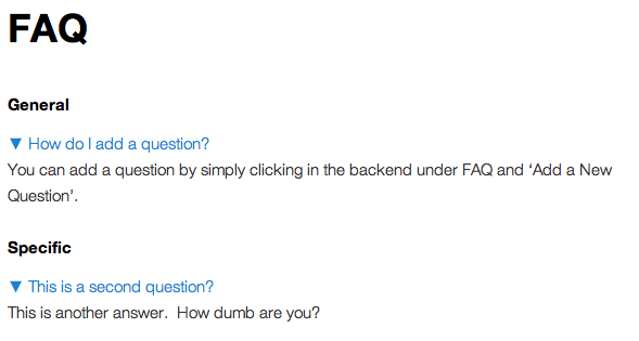 A screenshot showing the FAQ by category with the questions clicked on.