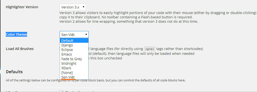 Add theme on SyntaxHighLight Setting page