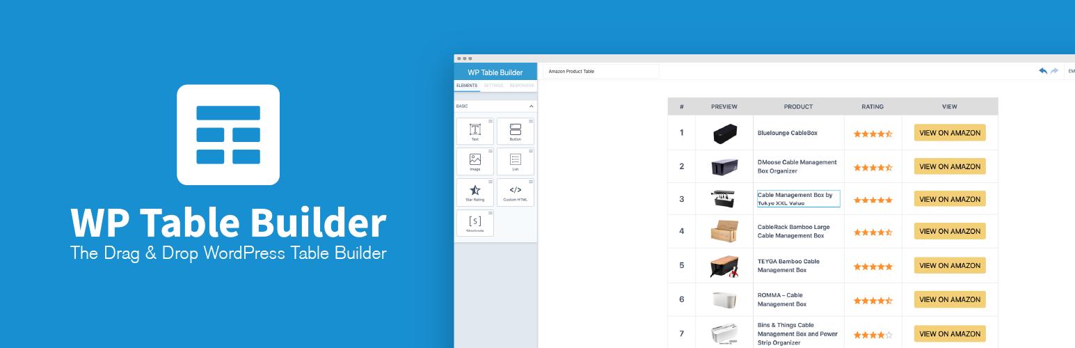 WP Table Builder plugin in WordPress