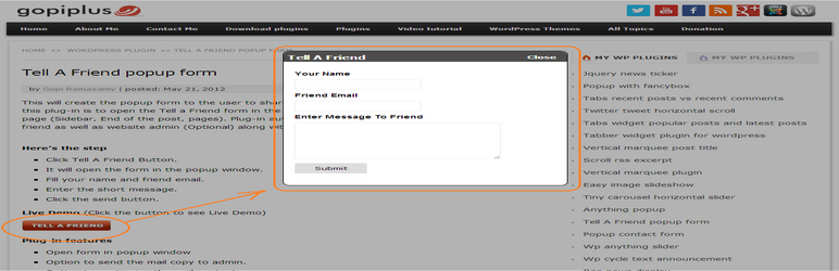 wp tell a friend popup form