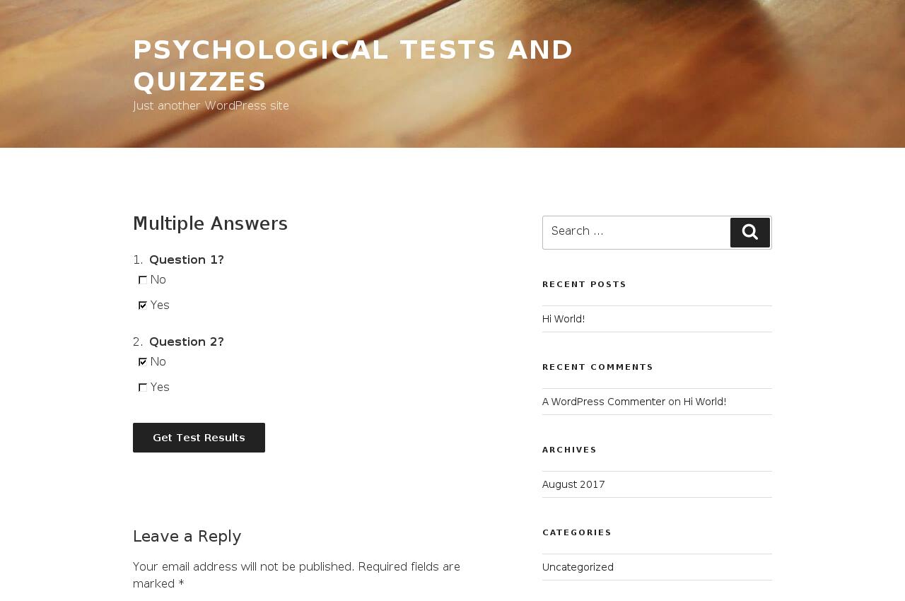 Psychological tests & quizzes – WordPress plugin | WordPress org