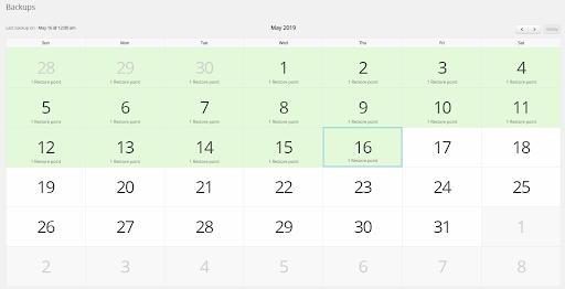 <strong>Backup calendar view</strong> - You can view and restore files + database from a calendar view.
