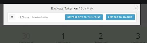 <strong>Warp back your site in time</strong> - You can restore the complete site back to a specific point in time.