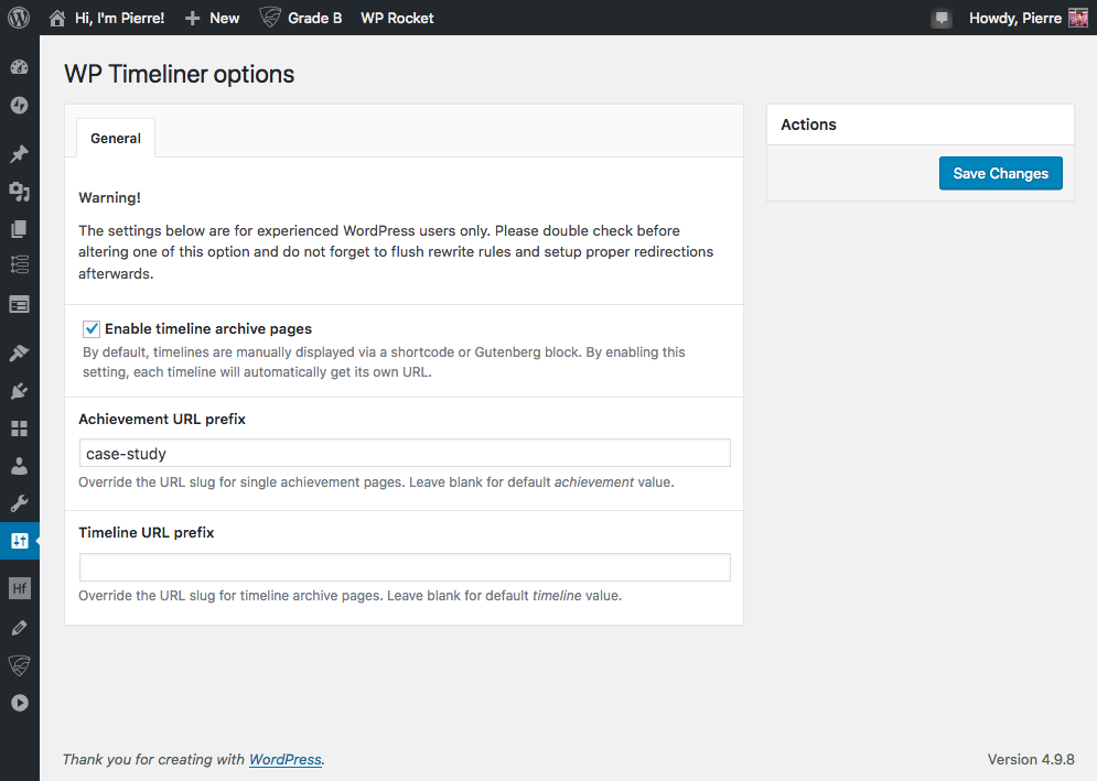 Plugin options page.
