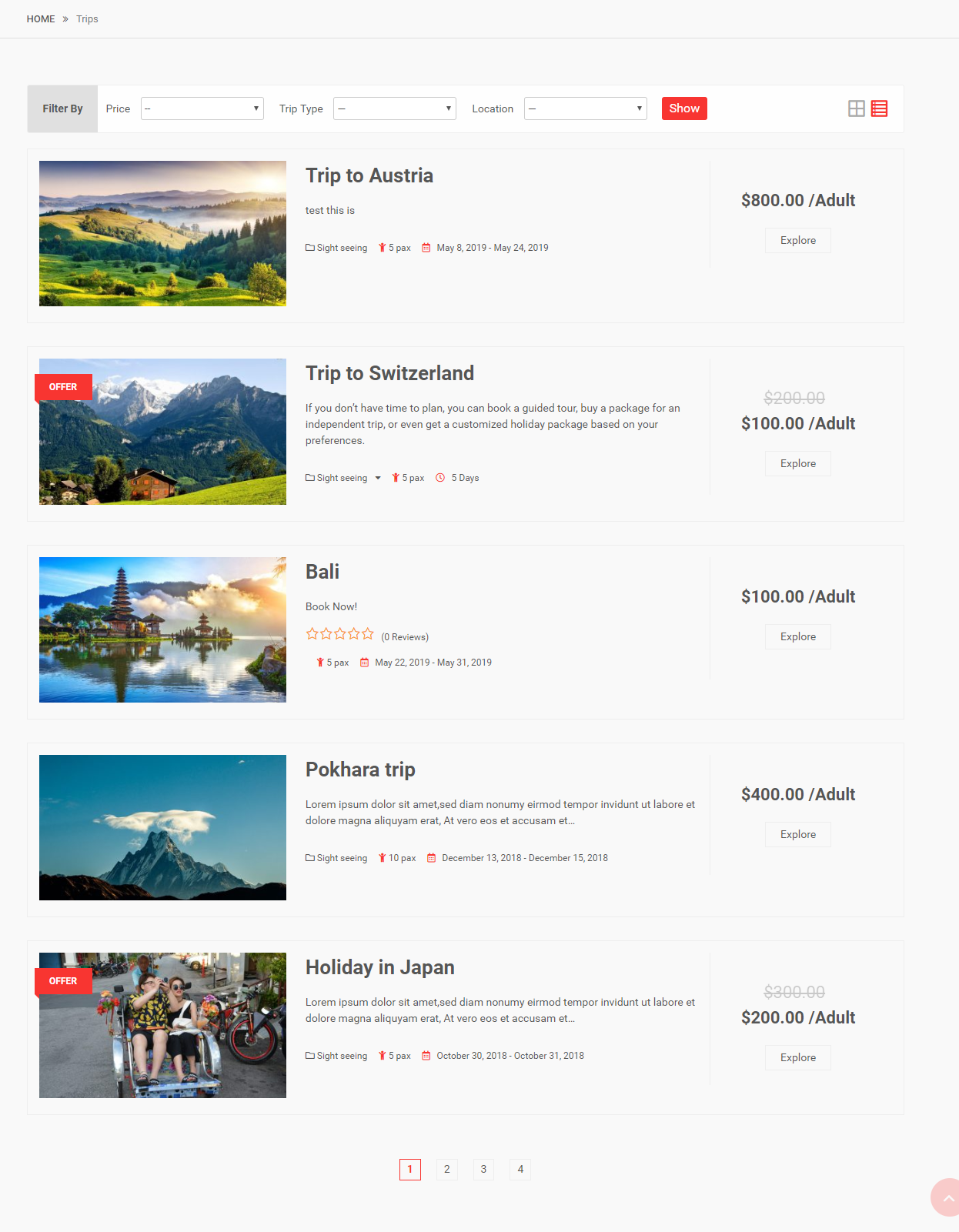 Frontend: Itinerary listing