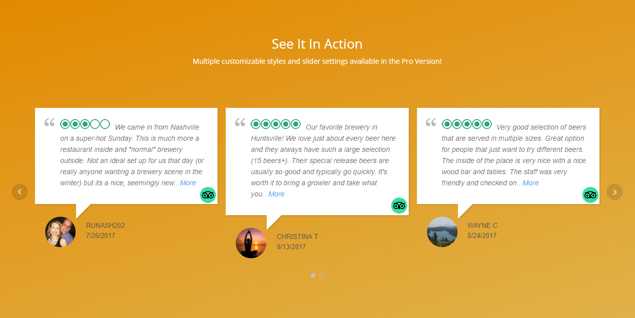 Create a beautiful review slider on your posts or pages!