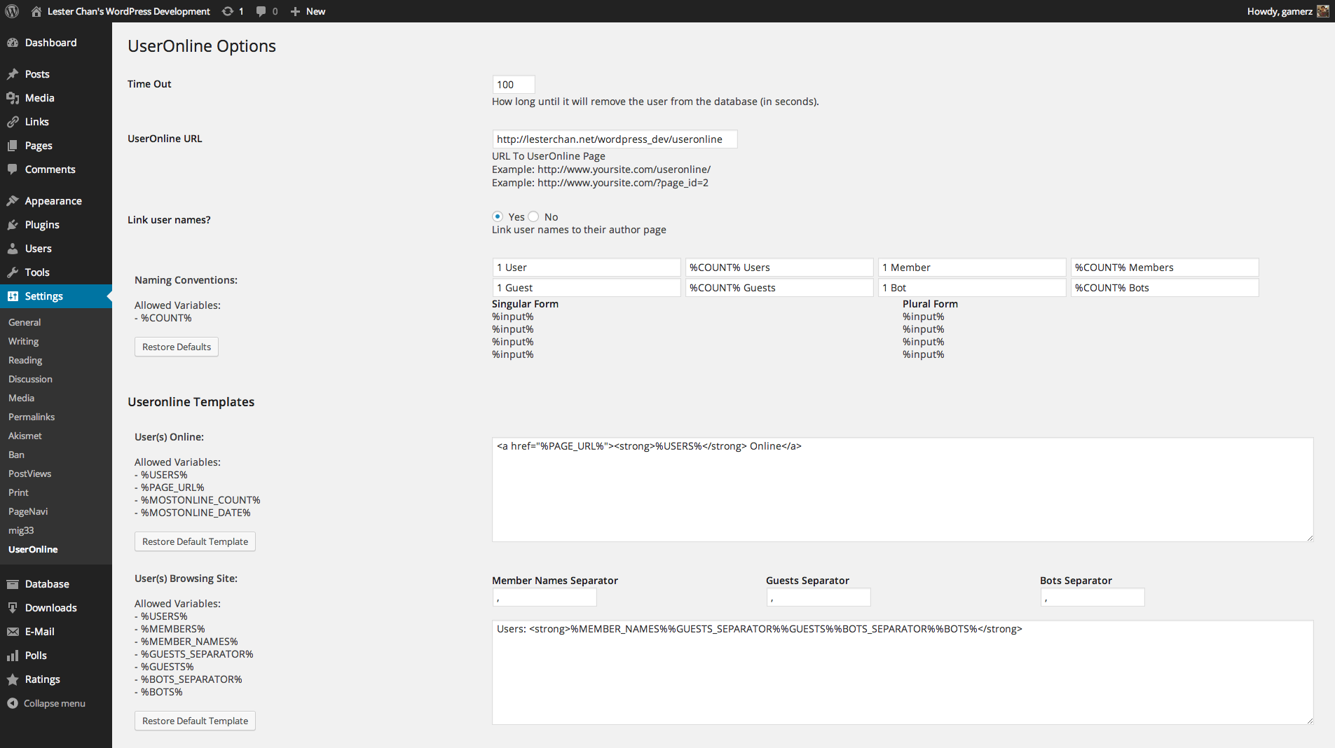 WP-UserOnline's Screenshot: Admin - Settings Page